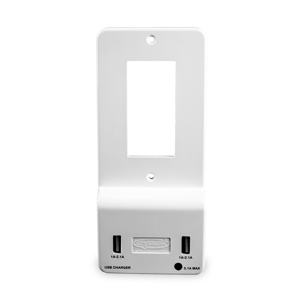Cyron Outlit Mate Dual Usb Port Wall Charger Outlet Receptacle Wiring 2 Gang Recepitacle Youtube Socket Plate Cover Included Built In Led Night Light Etl Listed Decor White