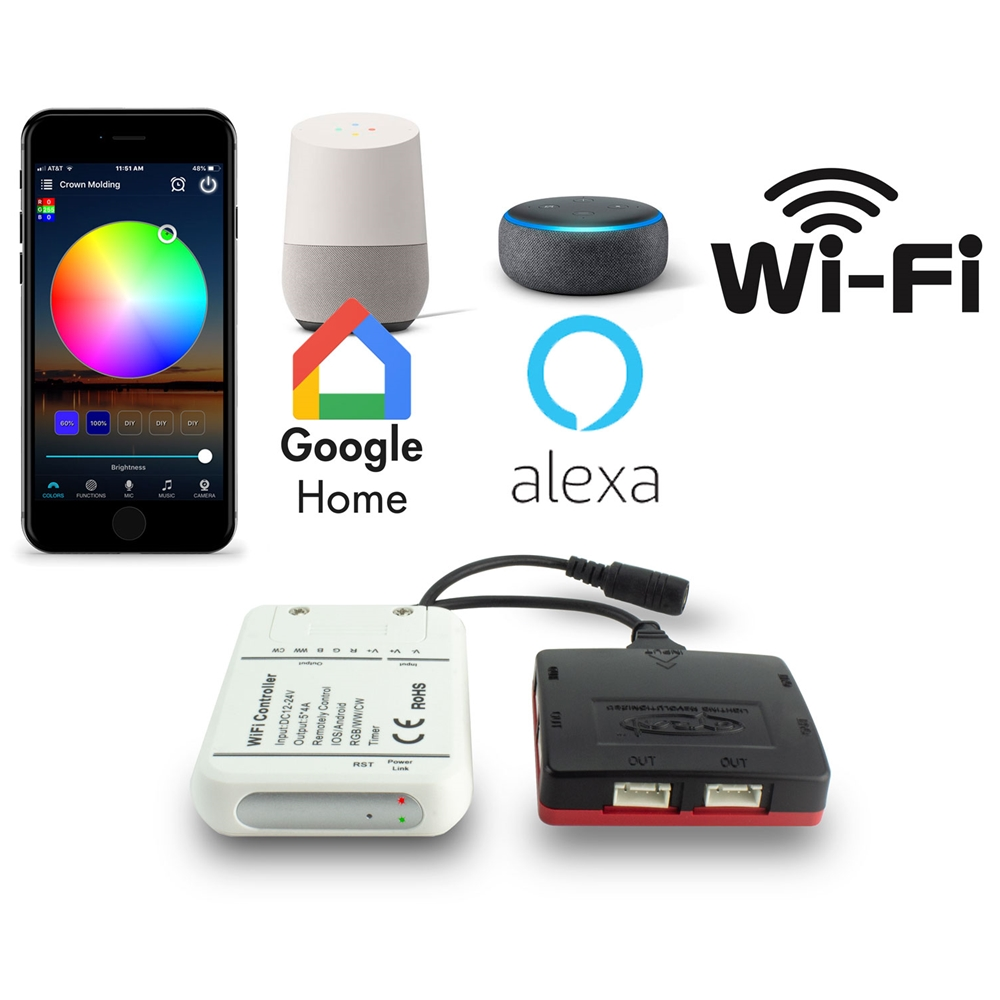 Controller HTW400 RGB RGBW RGBCW Wifi 5 Channel, Alexa Google Home  Compatible + Expansion Light HUB