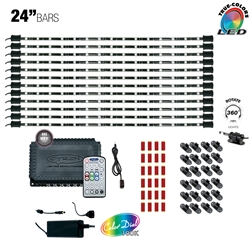 "LED Multicolor RGB TV Accent Light Kit, Under Cabinet Home Lighting, 360 Degrees Rotatable, 12 Ports, Music Mode, 200W - 360W , 12V - 24V DC,  12 x 24"" Bars"