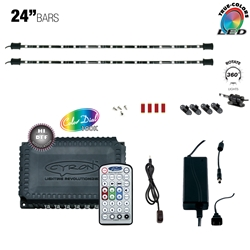 "RGB True LED Multicolor Home TV Accent Light Kit,  Under Cabinet Counter Lighting,  360 Degrees Rotatable, 12 Ports, ETL Listed, 2 x 24"" Light Bars"