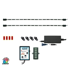 "RGB True LED Multicolor Home TV Accent Light Kit System, Under Cabinet Counter Lighting,  Multi-Mode, 360 Degrees Rotatable, ETL Listed, 2 x 15"" LED Bars"
