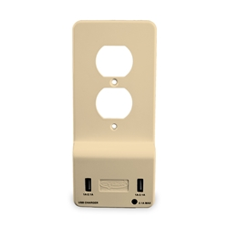 Cyron Outlit-Mate Dual USB Port Wall Charger Duplex Outlet Receptacle Socket, Wall Plate Cover Included, Built-In LED Night Light, ETL Listed, Almond
