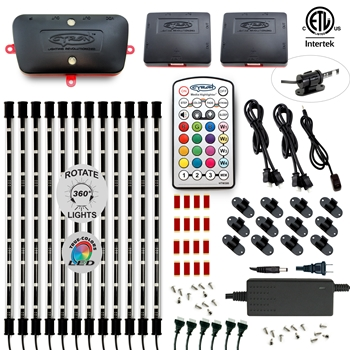 LED Multicolor RGB (+White) Home, TV, Cabinet Accent Lighting Kit, 12 x 15 Inch Light Bars, Music Mode, ETL Listed, W3 Smart Controller
