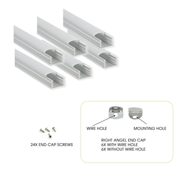 6-Pack 3.3ft / 1 Meter U Shape LED Ribbon Tape Strip Aluminum Channel Extrusion Profile With Cover, End Caps + Mounting Clips