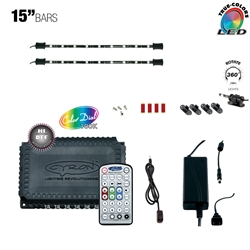 "LED Multicolor RGB TV Accent Light Kit, Under Cabinet Home Lighting, 360 Degrees Rotatable, 12 Ports, Music Mode, 200W - 360W , 12V - 24V DC,  2 x 15"" Bars"
