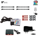 220 Lumen LED Multicolor RGB (+White) Home, Cabinet & TV Accent Lighting Kit, W2 Smart Controller, Music Mode, 360 Degrees Adjustable, 4 x 9 Inch Light Bars