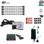 LED Multicolor RGB (+White) Home, Cabinet & TV Accent Lighting Kit, W2 Smart Controller, Music Mode, 360 Degrees Adjustable, 2 x 15 Inch Light Bars
