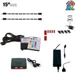 LED Multicolor RGB (+White) Home, Cabinet & TV Accent Lighting Kit, 2 x 15 Inch Light Bars, 360 Degrees Adjustable, W2 Smart Controller, Music Mode
