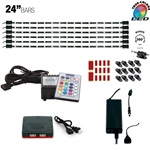 840 Lumen LED Multicolor RGB (+White) Home, Cabinet & TV Accent Lighting Kit, W2 Smart Controller, Music Mode, 360 Degrees Adjustable, 6 x 24 Inch Light Bars