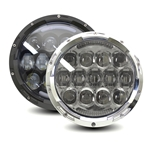 "Headlight + DRL, Integrated LED 7"" 75W ""Urban"" Wide Angle Beam, Avail in Black & Black+Chrome ring"
