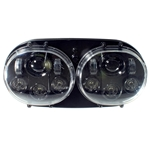 Headlight LED Dual, Integrated 80W Blk, Road Glide '04-'13