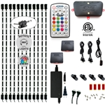 LED Multicolor RGB (+White) Media Highlighter Under-Cabinet & TV Accent Lighting Kit, 6 x 24 Inch Light Bars, Music Mode, ETL Listed, W3 Smart Controller