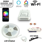 Ribbon Tape LED Light Multicolor RGBW Kit Wifi, Indoor IP68 16.4ft
