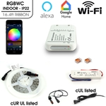 UL listed flexible LED ribbon tape light Multicolor RGBWC kit Wifi, Indoor IP22 16.4ft  24V CRI95+