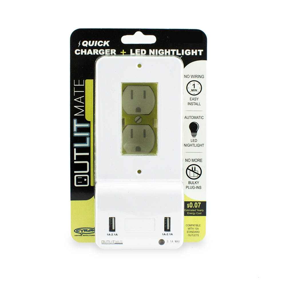 Cyron Outlit Mate Dual Usb Port Wall Charger Outlet Receptacle Add A Light From Switched Socket Plate Cover Included Built In Led Night Etl Listed Decor White